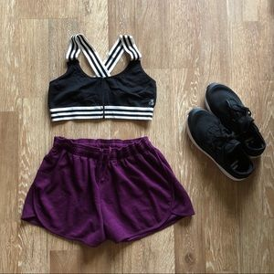 Purple Knit Work Out Shorts